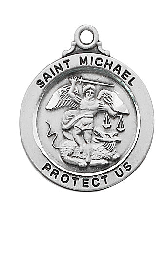 Sterling Silver Saint Michael 20-inch Chain and Box