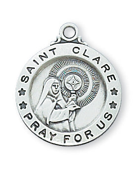 Sterling Silver Sml Saint Clare with 18-inch Chain