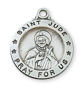 Sterling Silver Medal of Saint Jude with 18 inch Chain