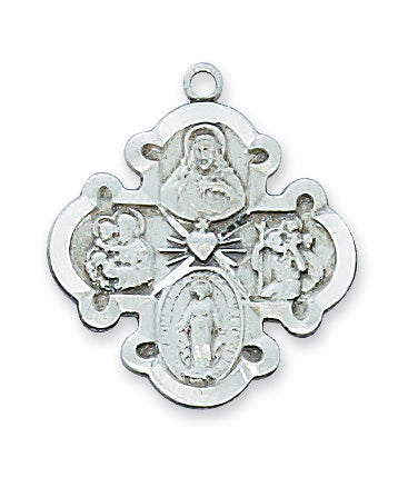 Sterling Silver 4-Way Medal with 20-inch Chain
