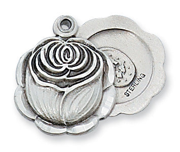Sterling Silver Miraculous Rosebud with 18-inch Chain