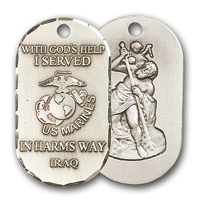 Sterling Silver Marines Iraq/St Christopher Pendant