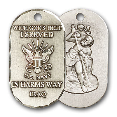 Sterling Silver Saint Christopher and Iraq Navy Pendant