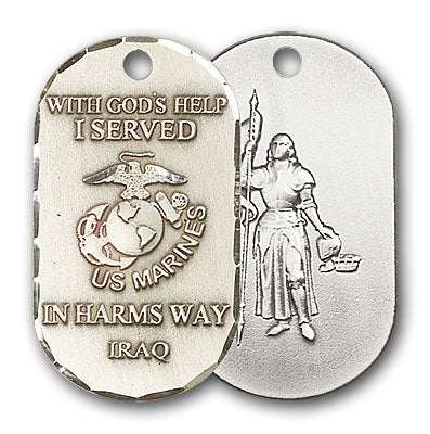 Sterling Silver Marines Iraq/St Joan of Arc Pendant