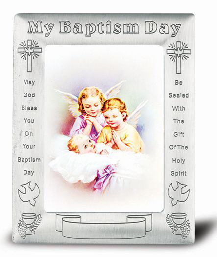 Pewter Finish Baptism Frame with Guardian Angel with Lantern