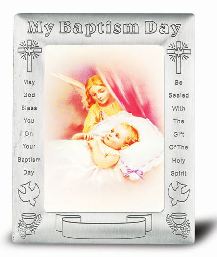 Pewter Finish Baptism Frame with Guardian Angel Watching