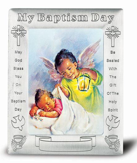 Guardian Angel with Latern Pictur In Pewter Baptism Frams