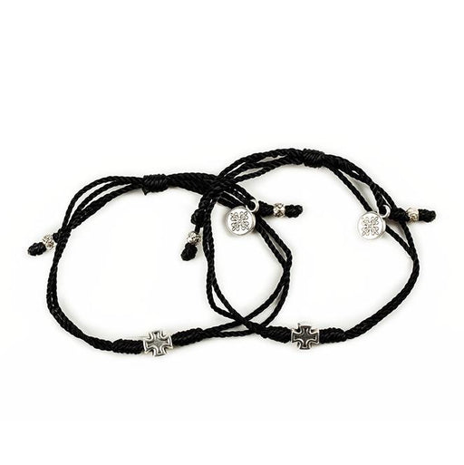 "Prayer Partner Bracelets Black Ã"""" Silver Metal"