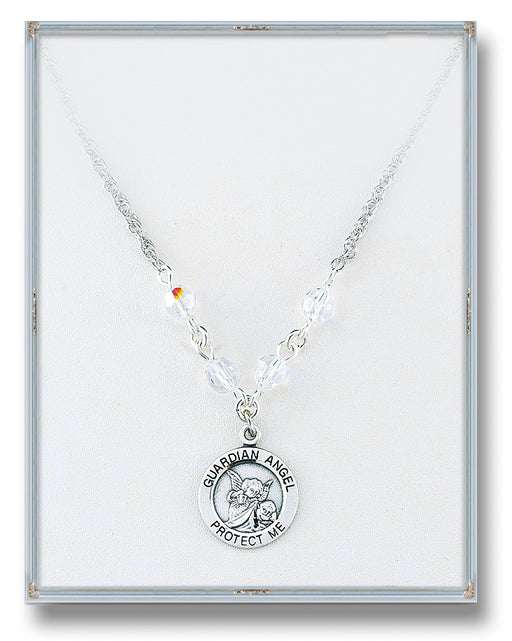 4mm Aurora Swarovski Crystal Guardian Angel, Angel Jewelry Pendant 18-inch Rope Chain