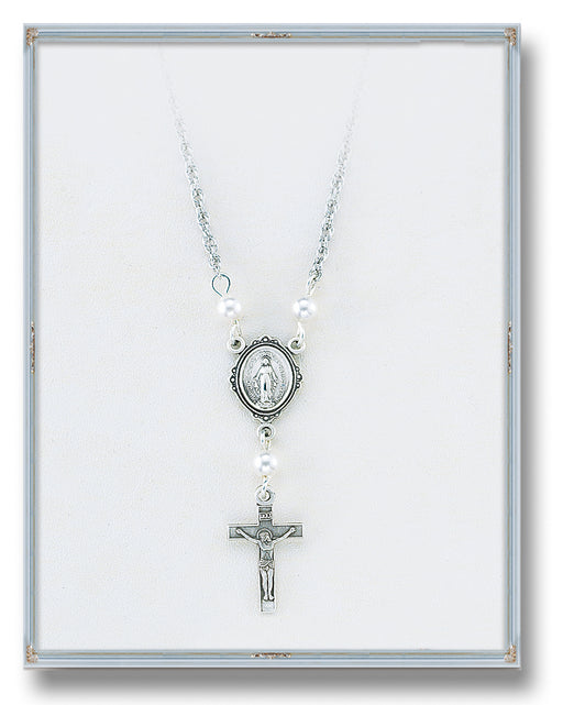 4mm White Swarovski Pearl Pendant with Sterling Silver Miraculous Medal and Crucifix 18-inch Chain