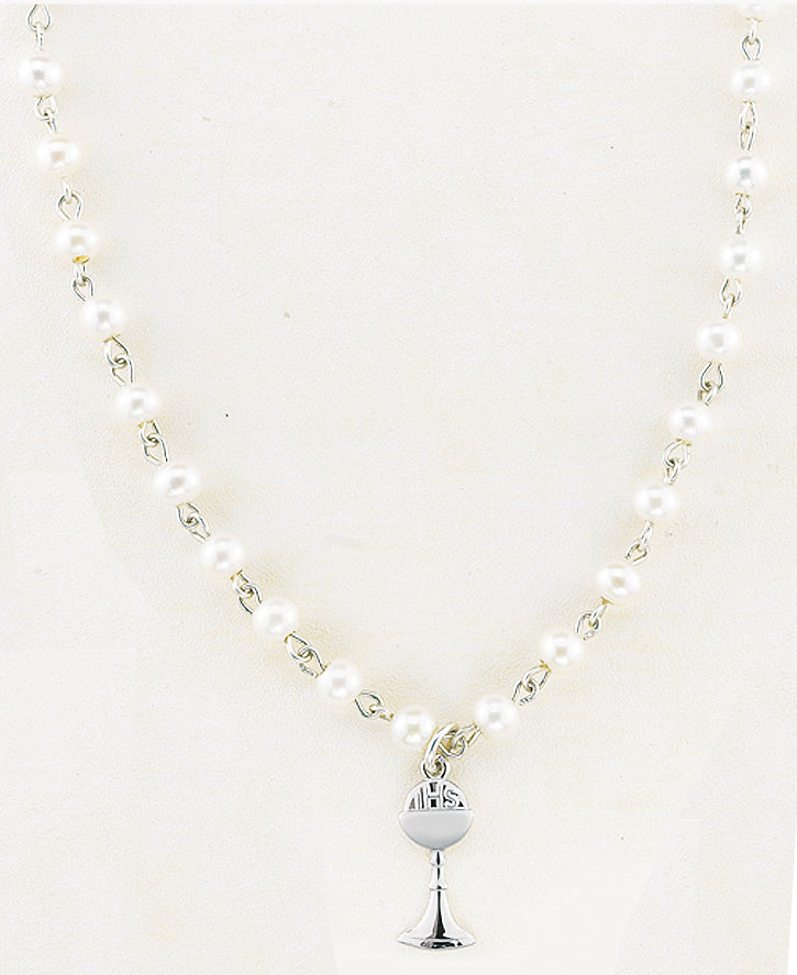 4mm Freshwater Pearl 16-inch Pendant with Sterling Silver Chalice