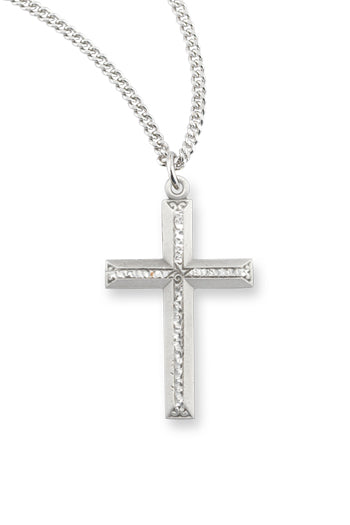 1 1/4-inch Pewter Cross On 24-inchChain