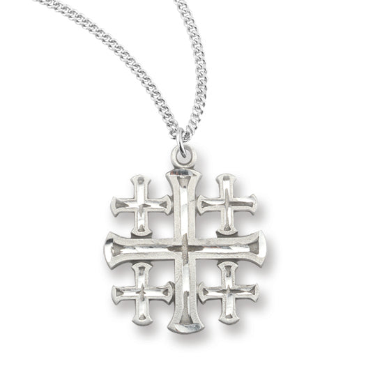 Pewter 13/16-inch Jerusalem Cross Pendant On 18-inch Chain