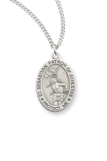 7/8-inch Pewter Saint Sebastian Medal On 24-inch Chain