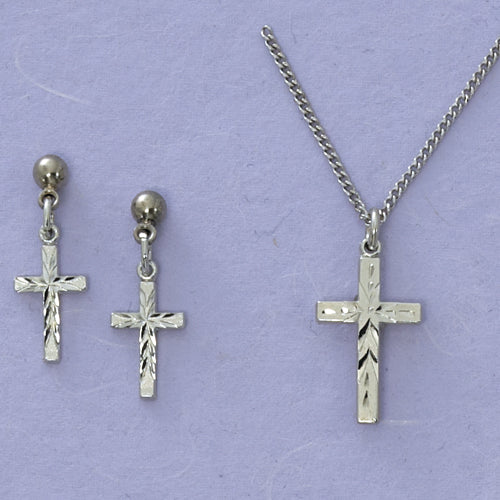 Rf Cross Pend and Earring Set
