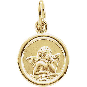 14K Gold Round Angel Pendant