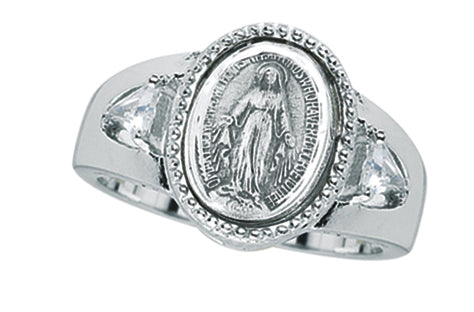 Sterling Silver Miraculous Medal Ring with Two Crystal Cubic Zircon Size 6