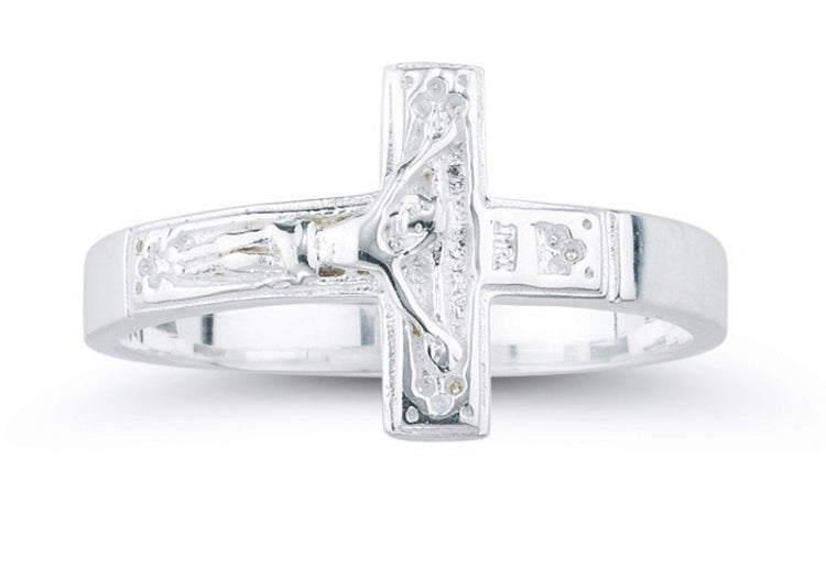 Large Sterling Silver Crucifix Ring Size 12