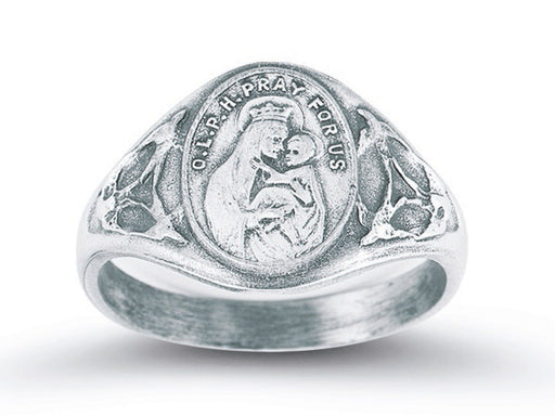 Sterling Silver Our Lady of Mount Carmel Ring with Sacred Heart Inside Size 7