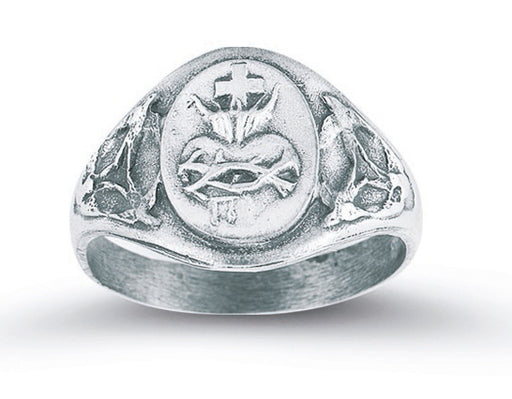 Sterling Silver Sacred Heart of Jesus Ring Size 6