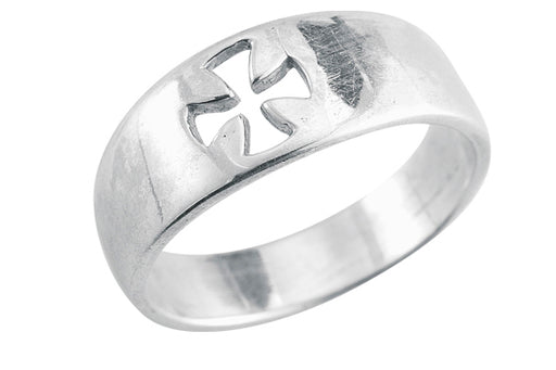 Sterling Silver Pierced Cross -inchFaith-inch Ring Size 5