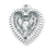 Sterling Silver Heart Shaped Miraculous Medal with 18-inch Chain and Box
