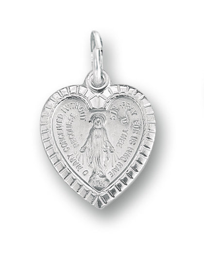 13/16-inch Sterling Silver Miraculous Heart Pendant with 18-inch Chain