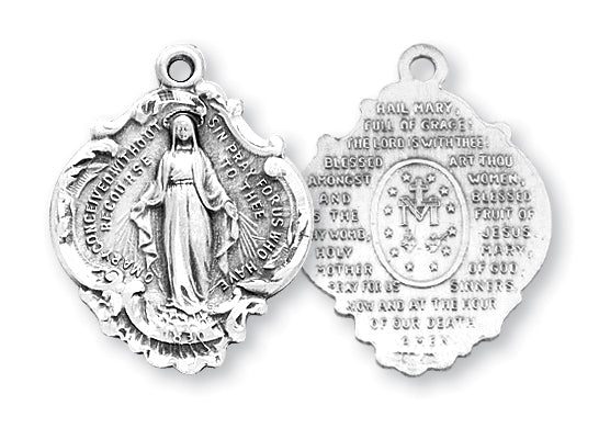 1 1/16-inch Sterling Silver Miraculous Medal with The Hail Mary Prayer on the Reverse Side