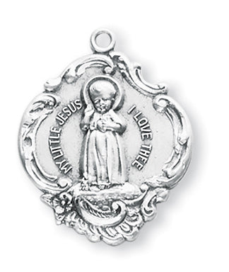 1-inch Sterling Silver Infant Jesus Medal with 18-inch Chain
