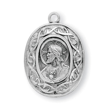 15/16-inch Sterling Silver Crown of Thorns Scapular Medal with 24-inch Chain