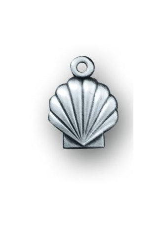 1/2-inch Sterling Silver Holy Baptism Shell Medal with 13-inch Chain