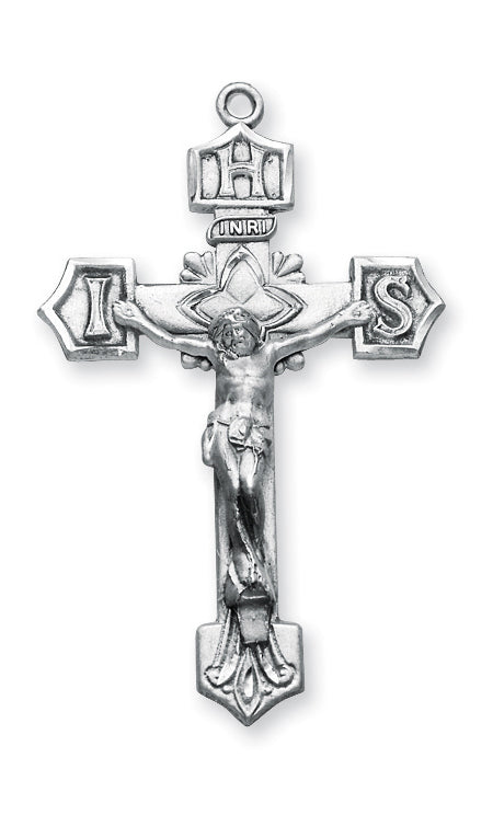 1 11/16-inch Sterling Silver Crucifix with 24-inch Chain