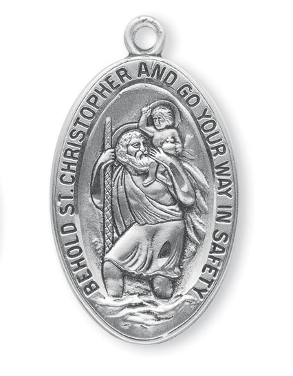 Sterling Silver Oval Saint Christopher Medal