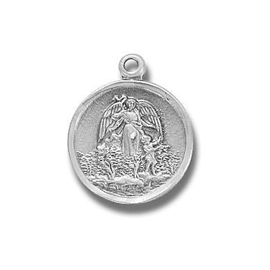 5/8-inch Sterling Silver Guardian Angel, Angel Jewelry Medal with 18-inch Chain