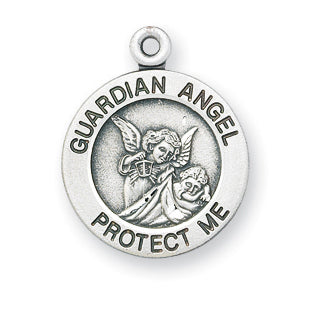 Sterling Silver Round Shaped Guardian Angel, Angel Jewelry Medal