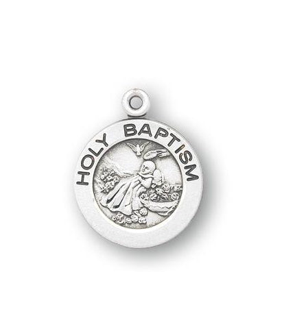 Sterling Silver Round Shaped Holy Baptism Medal