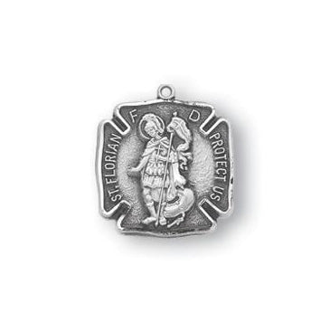 9/16-inch Sterling Silver Saint Florian Medal with 18-inch Chain