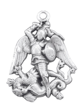Sterling Silver Saint Michael Medal on a 24-inch Chain