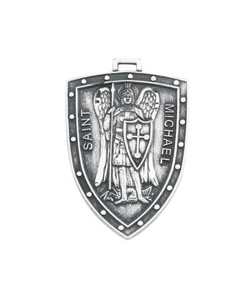 Sterling Silver Shield Shaped Saint Michael Medal