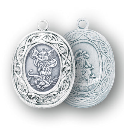 Sterling Silver Oval Saint Michael Medal