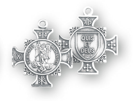 Sterling Silver Maltese Cross Shaped Saint Michael Medal