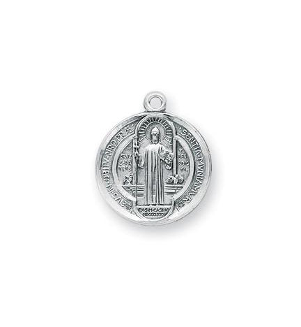 3/4-inch Sterling Silver Saint Benedict Medal with 18-inch Chain