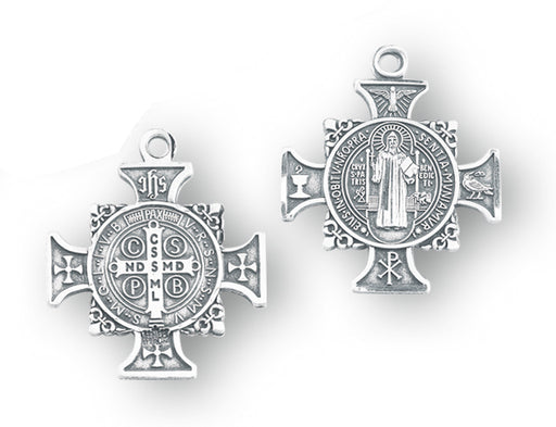 1-inch Sterling Silver Saint Benedict Cross Medal with 24-inch Chain