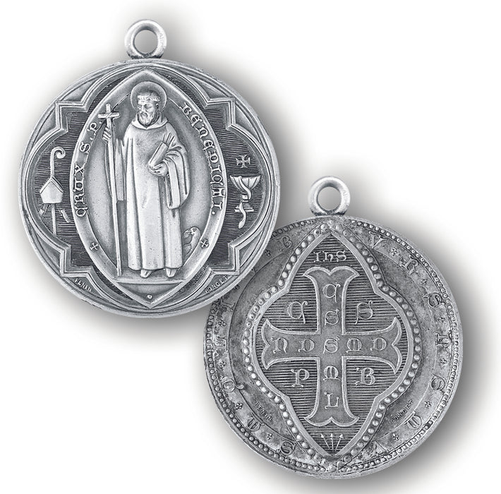 1 3/8-inch Sterling Silver Saint Benedict Medal with 27-inch Chain