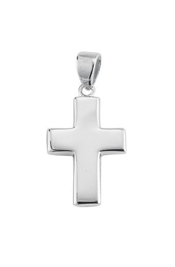 1-inch Sterling Silver Wide Plain Cross with 18-inch Chain