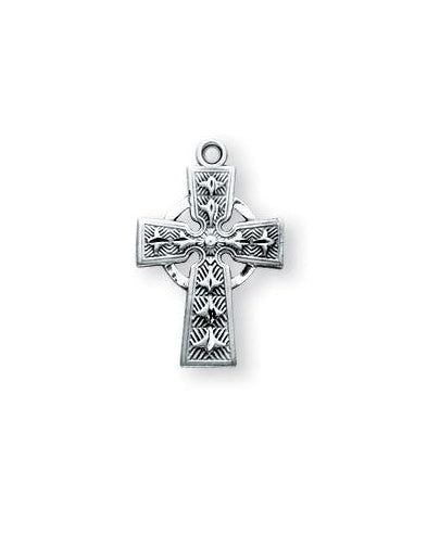9/16-inch Sterling Silver Celtic Cross with 16-inch Chain and Box