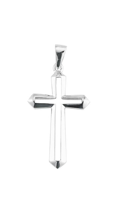 1 1/4-inch Sterling Silver Cut Out Cross with 18-inch Chain