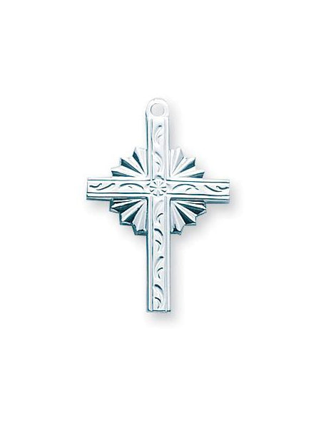 15/16-inch Sterling Silver Cross with 18-inch Chain
