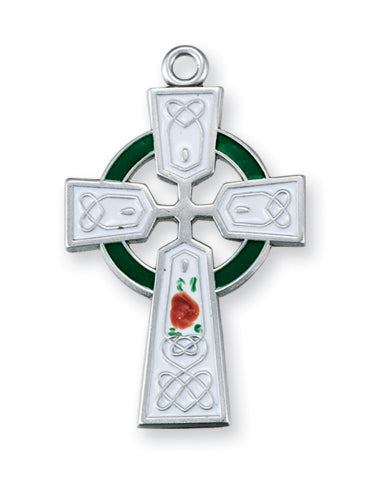 1 1/4-inch Sterling Silver Celtic Cross with Green Enamel 24-inch Chain