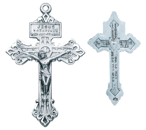 1 1/2-inch Sterling Silver -inchPardon-inch Crucifix with 24-inch Chain